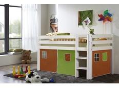 Dětská VYVÝŠENÁ postel DOMEČEK zelenooranžový - BÍLÁ