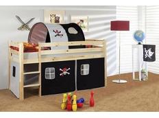 Dětská VYVÝŠENÁ postel PIRÁTI bíločerní - PŘÍRODNÍ