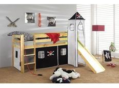 Dětská VYVÝŠENÁ postel se skluzavkou PIRÁTI bíločerní - PŘÍRODNÍ