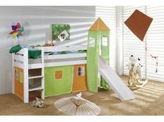 Vyvýšená dětská postel DOMEČEK SE SKLUZAVKOU zelenooranžový