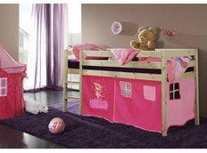 Dětská VYVÝŠENÁ postel DOMEČEK růžový - PŘÍRODNÍ
