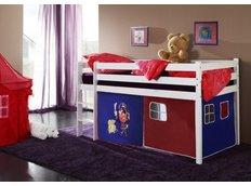 Dětská VYVÝŠENÁ postel PIRÁTI modročervení - BÍLÁ