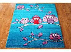 Dětský koberec SOVIČKY - tyrkysový