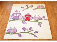 Dětský koberec SOVIČKY - krémový
