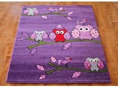 Dětský koberec SOVIČKY - fialový