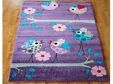 Dětský koberec PTÁČCI - fialový