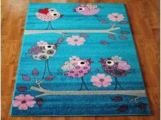 Dětský koberec PTÁČCI - tyrkysový