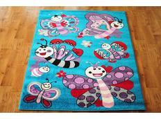 Dětský koberec MOTÝLI - tyrkysový