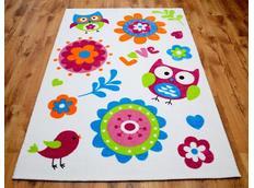 Dětský koberec SOVY - bílý