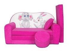 Dětská pohovka SLON a ZAJÍC - růžová
