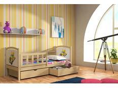 Dětská postel z MASIVU S OBRÁZKEM SE ŠUPLÍKY - DP013