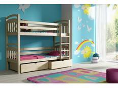 Dětská patrová postel z MASIVU se šuplíky - PP003
