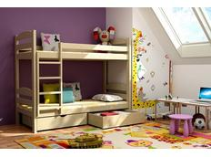 Dětská patrová postel z MASIVU se šuplíky - PP004