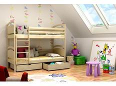 Dětská patrová postel z MASIVU se šuplíky - PP006