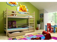 Dětská patrová postel z MASIVU se šuplíky - PP008