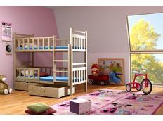 Dětská patrová postel z MASIVU se šuplíky - PP009