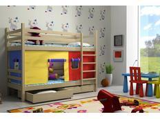 Dětská patrová postel z MASIVU se šuplíky - PP011
