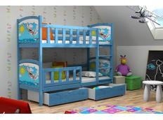 Dětská patrová postel z MASIVU s obrázkem a se šuplíky - PP010
