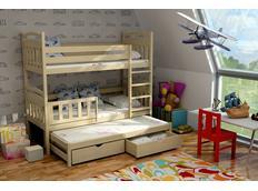 Dětská patrová postel s výsuvnou přistýlkou z MASIVU se šuplíky - PV001