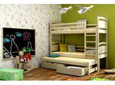 Dětská patrová postel s výsuvnou přistýlkou z MASIVU se šuplíky - PV002