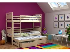 Dětská patrová postel s výsuvnou přistýlkou z MASIVU bez šuplíku - PV003