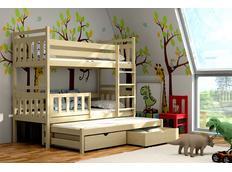 Dětská patrová postel s výsuvnou přistýlkou z MASIVU se šuplíky - PV004