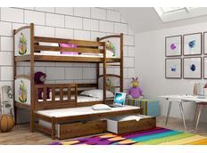 Dětská patrová postel s výsuvnou přistýlkou z MASIVU S OBRÁZKY a se šuplíky - PV005