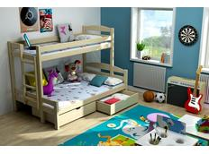 Dětská patrová postel s rozšířeným spodním lůžkem z MASIVU se šuplíky - PPS001