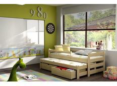 Dětská postel s výsuvnou přistýlkou z MASIVU se šuplíky - DPV001