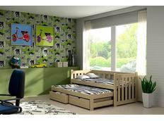 Dětská postel s výsuvnou přistýlkou z MASIVU bez šuplíku - DPV002