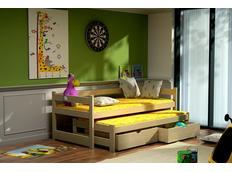 Dětská postel s výsuvnou přistýlkou z MASIVU se šuplíky - DPV003