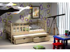 Dětská postel s výsuvnou přistýlkou z MASIVU se šuplíky - DPV004