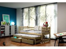 Dětská postel s výsuvnou přistýlkou z MASIVU se šuplíky - DPV006