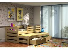 Dětská postel s výsuvnou přistýlkou z MASIVU se šuplíky - DPV007