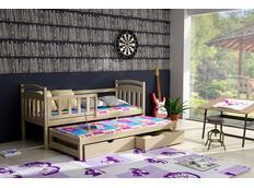 Dětská postel s výsuvnou přistýlkou z MASIVU se šuplíky - DPV008