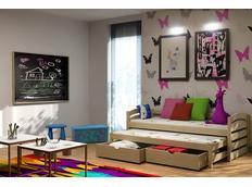 Dětská postel s výsuvnou přistýlkou z MASIVU se šuplíky - DPV012