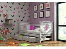 Dětská postel s výsuvnou přistýlkou z MASIVU s obrázkem a se šuplíky - DPV005