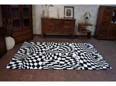 Moderní koberec černo-bílý F756
