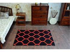 Moderní koberec PLETIVO černo-červený