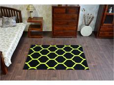 Moderní koberec PLETIVO černo-žlutý