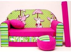 Dětská pohovka Zajíčci - zeleno-růžová