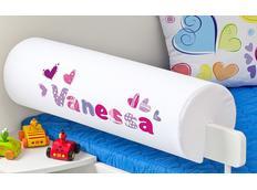 Chránič na dětskou postel SE JMÉNEM - vzor SRDÍČKA