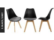 Designová židle VEYRON - černá+šedý podsedák