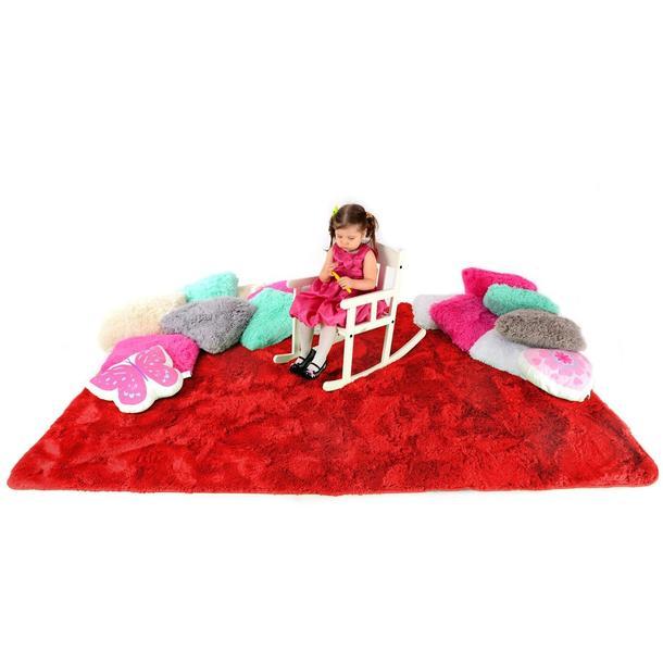 Plyšový dětský koberec ČERVENÝ