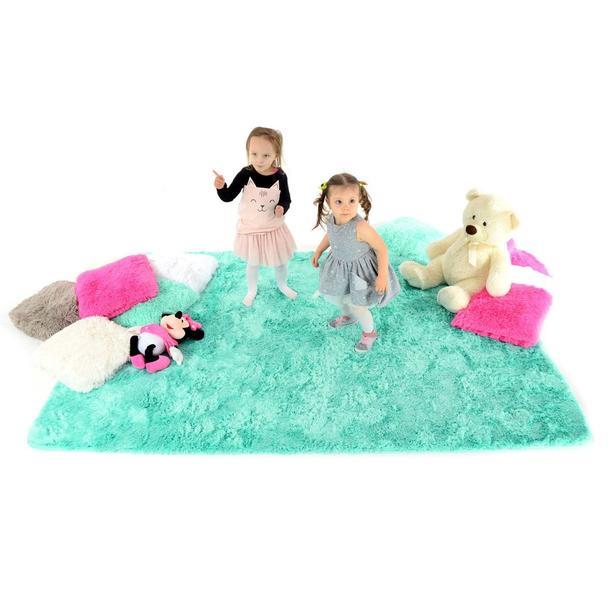 Plyšový dětský koberec MÁTOVÝ