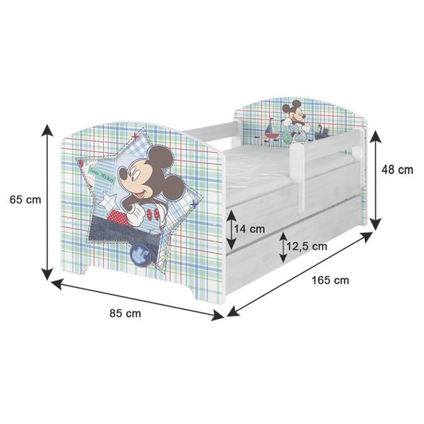 Dětská postel Disney 160x80 cm - rozměry