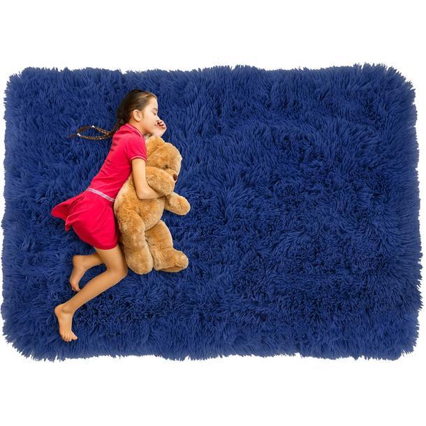 Plyšový dětský koberec MAX TMAVĚ MODRÝ