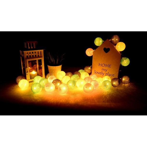 Bavlněné svítící kuličky LED 10 ks - hnědé
