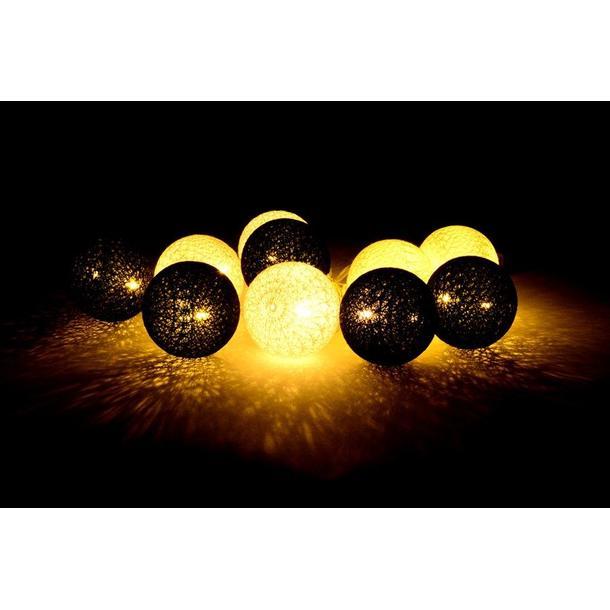 Bavlněné svítící kuličky LED 10 ks - světle šedé