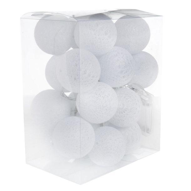Bavlněné svítící kuličky LED 20 ks - bílé